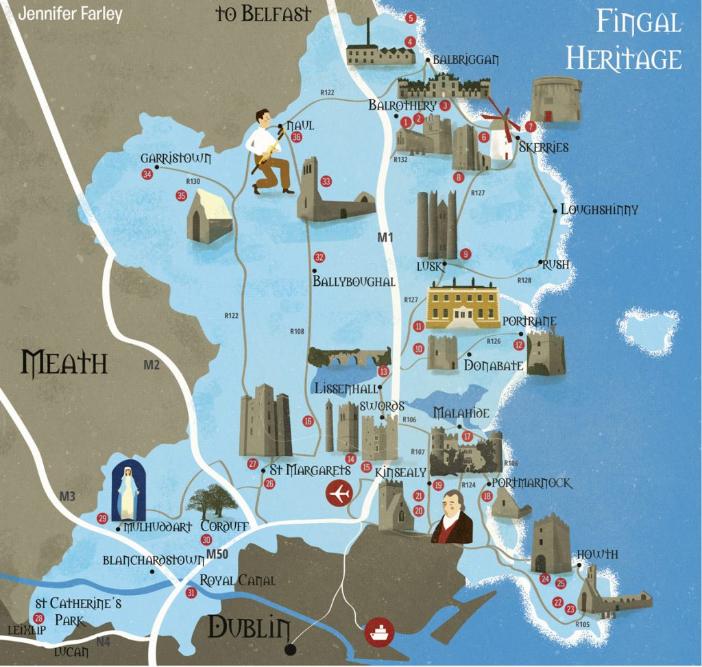 Fingal Heritage Sites Map illustrated by Jennifer Farley