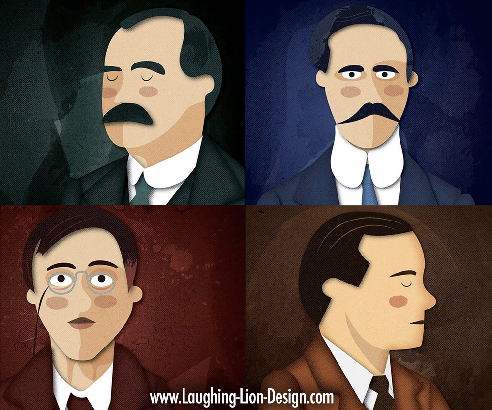 "7 Leaders of the 1916 Rising - Individual portraits created for ""Making History""."