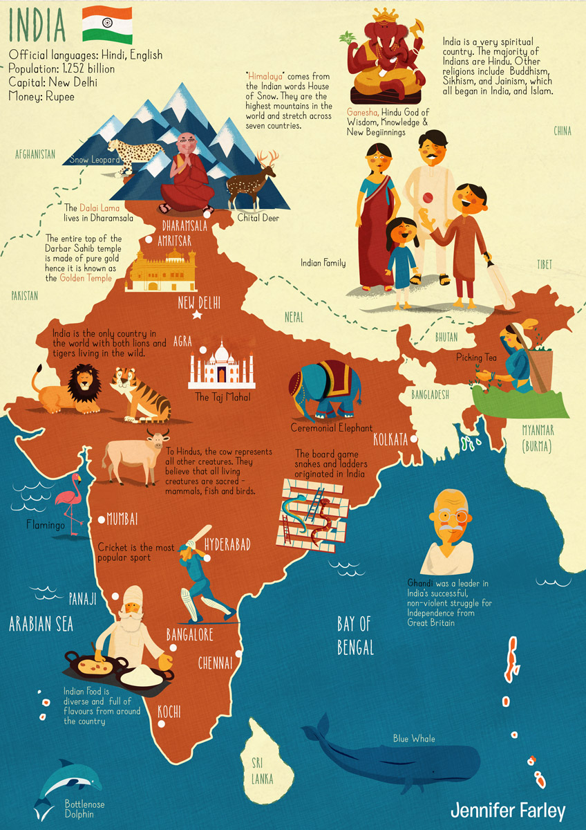 Map-of-India-illustrated-by-Jennifer-Farley