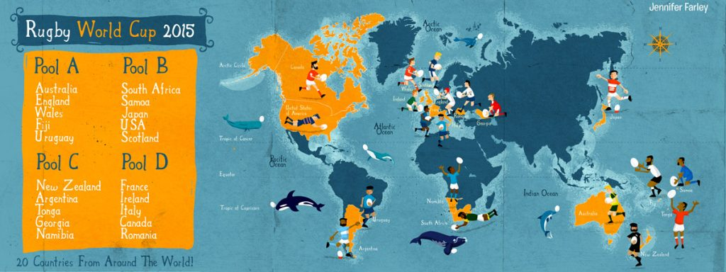 Rugby World Cup Map illustrated by Jennifer-Farley