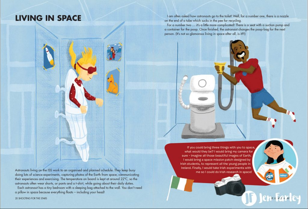 Shooting For The Stars Living In Space illustrated by Jennifer Farley