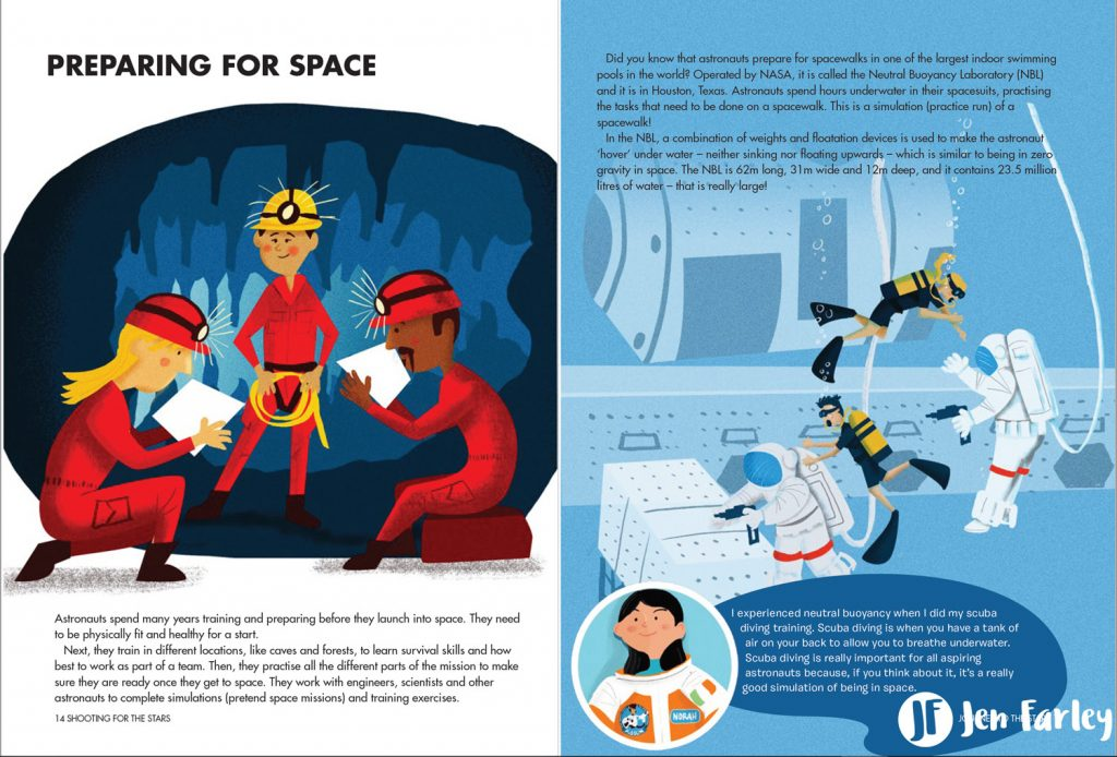 Shooting For The Stars Preparing For Space illustrated by Jennifer Farley