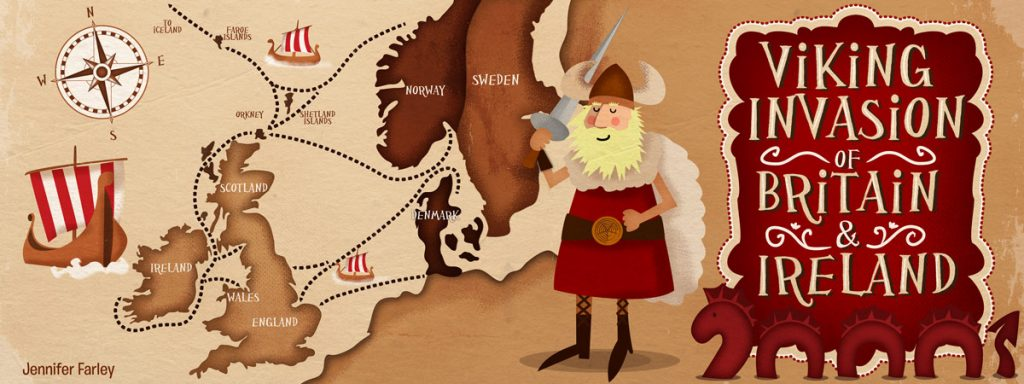 Vikings Invasion In Europe Map illustrated by Jennifer Farley