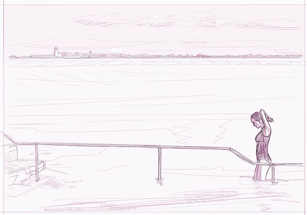 A girl exiting the sea (2016 #998)