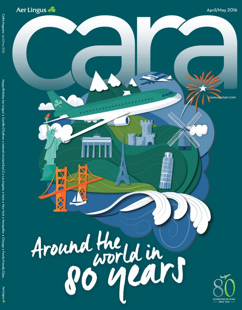 Cover Aer Lingus CARA Magazine 80 years Jennifer Farley