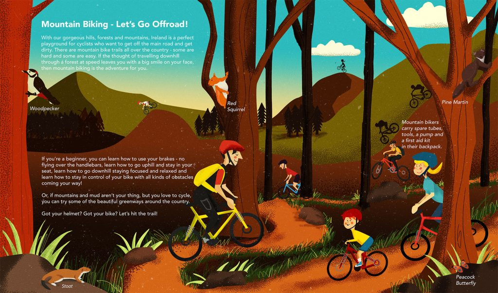 Mountain Biking Illustrated By Jennifer Farley From The Book Island of Adventures