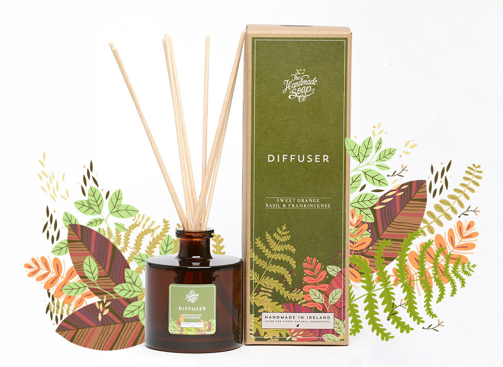 Sweet Orange, Basil and Frankincense Packaging Illustration
