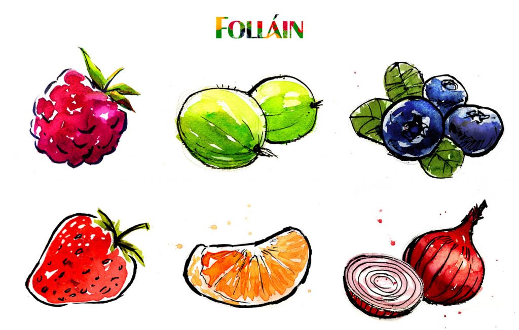 Watercolour and ink illustrations for Follain Jam.