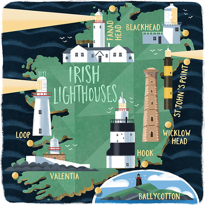 Irish Lighthouses Map