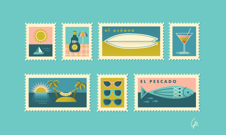 Linda-Fahrlin-illustration-holiday-travel-beach-stamps