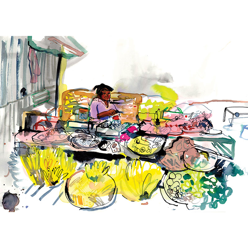 Eva Kelly Asian Food Market Watercolour