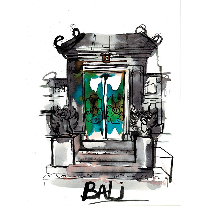 Eva Kelly Bali Temple Door Watercolour