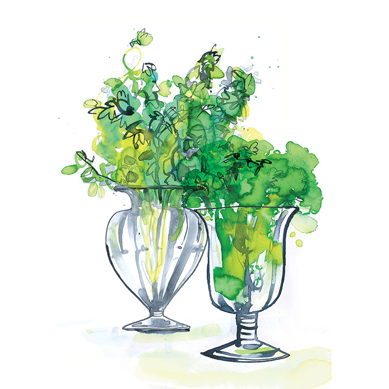 Eva Kelly Glass Vases Flowers Watercolour