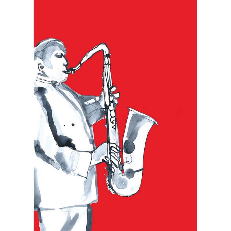Eva Kelly Jazz Saxophone Musician Watercolour